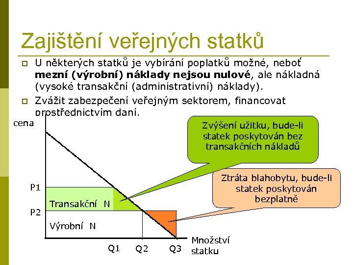 Zajištění veřejných statků p p cena U některých statků je vybírání poplatků možné, neboť
