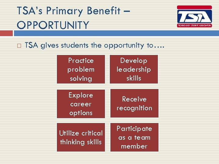 TSA's Primary Benefit – OPPORTUNITY TSA gives students the opportunity to…. Practice problem solving
