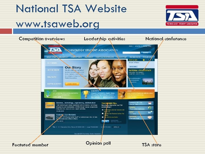 National TSA Website www. tsaweb. org Competition overviews Featured member Leadership activities Opinion poll