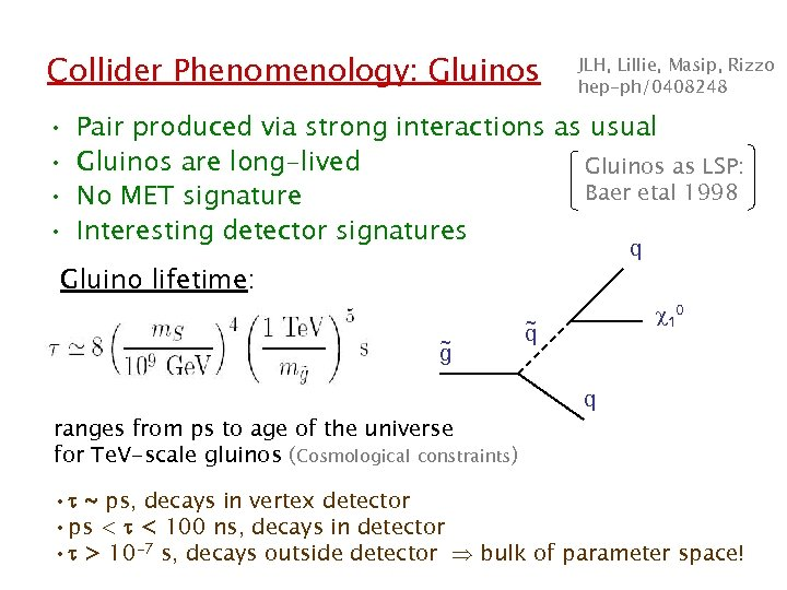 Collider Phenomenology: Gluinos • • JLH, Lillie, Masip, Rizzo hep-ph/0408248 Pair produced via strong