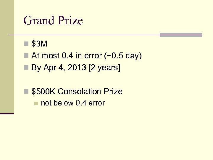 Grand Prize n $3 M n At most 0. 4 in error (~0. 5