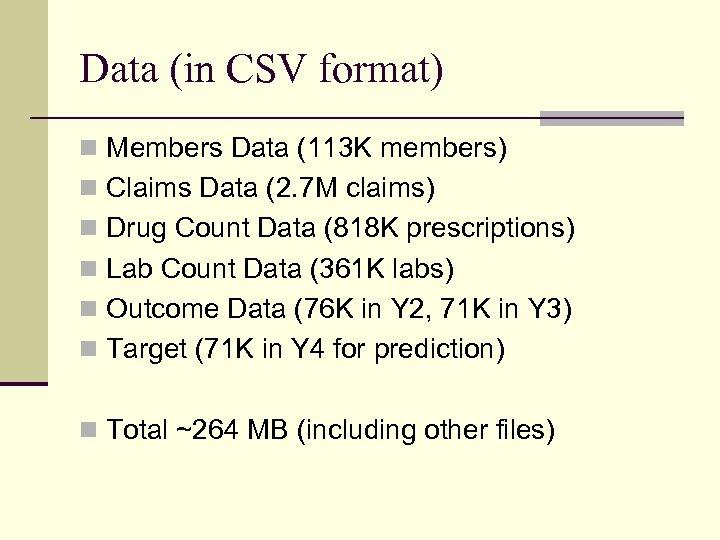 Data (in CSV format) n Members Data (113 K members) n Claims Data (2.