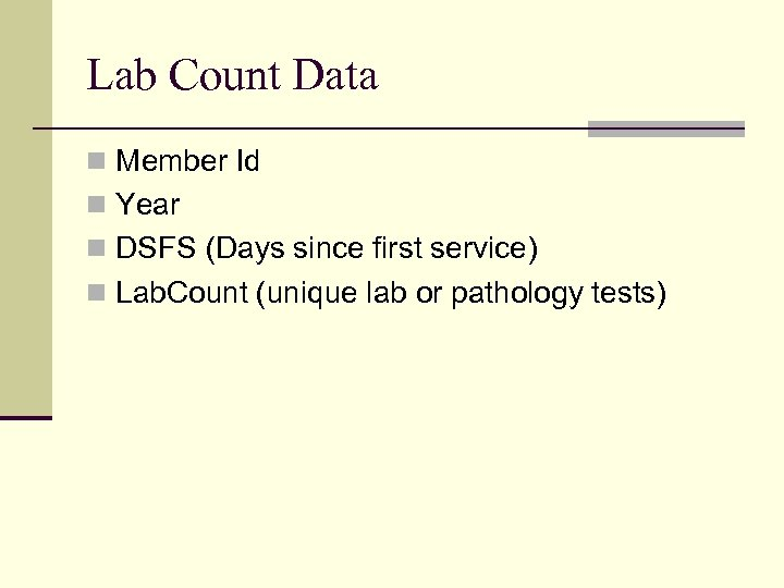 Lab Count Data n Member Id n Year n DSFS (Days since first service)