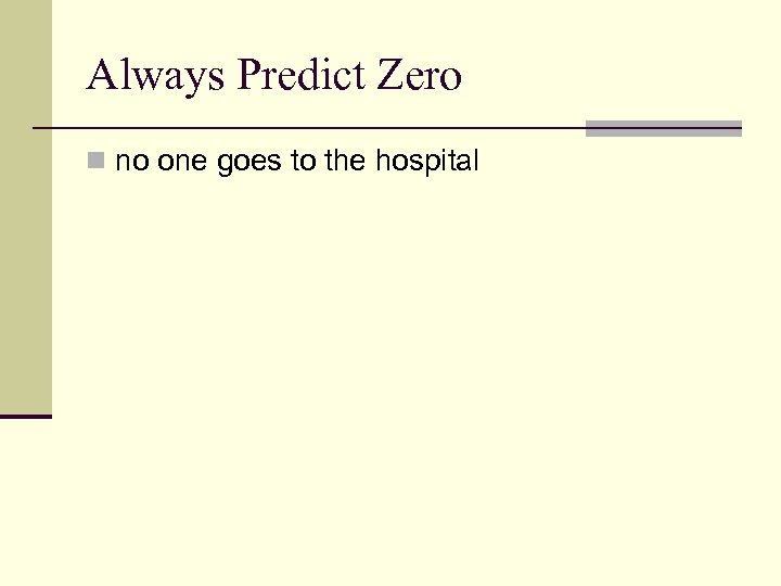 Always Predict Zero n no one goes to the hospital