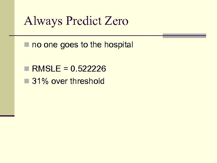 Always Predict Zero n no one goes to the hospital n RMSLE = 0.