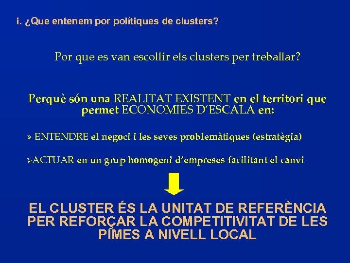 i. ¿Que entenem por polítiques de clusters? Por que es van escollir els clusters