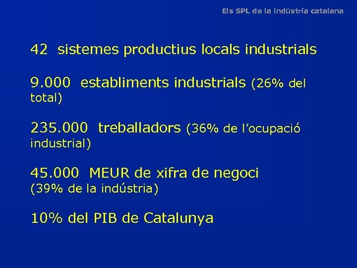Els SPL de la indústria catalana 42 sistemes productius locals industrials 9. 000 establiments