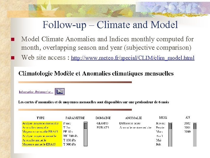 Follow-up – Climate and Model n n Model Climate Anomalies and Indices monthly computed