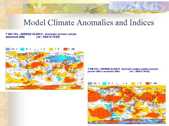 Model Climate Anomalies and Indices