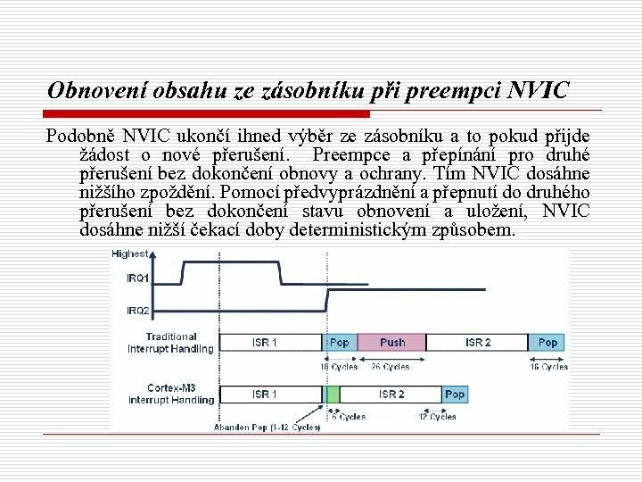 Obnovení obsahu ze zásobníku při preempci NVIC Podobně NVIC ukončí ihned výběr ze zásobníku