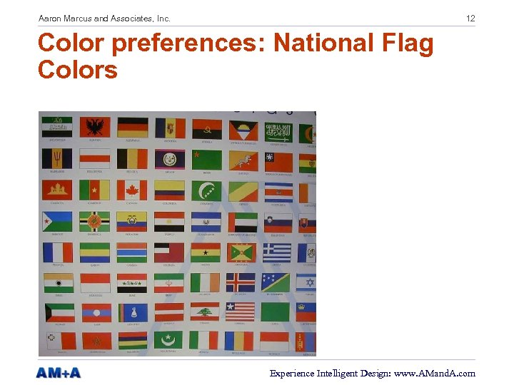Aaron Marcus and Associates, Inc. 12 Color preferences: National Flag Colors Experience Intelligent Design: