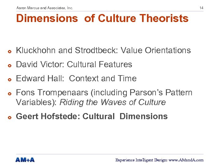 Aaron Marcus and Associates, Inc. 14 Dimensions of Culture Theorists £ Kluckhohn and Strodtbeck: