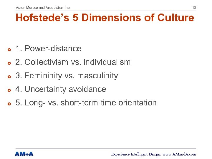 Aaron Marcus and Associates, Inc. 18 Hofstede's 5 Dimensions of Culture £ 1. Power-distance