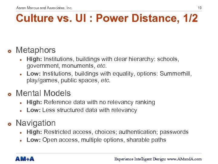 Aaron Marcus and Associates, Inc. 19 Culture vs. UI : Power Distance, 1/2 £