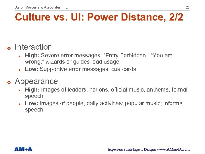 Aaron Marcus and Associates, Inc. 20 Culture vs. UI: Power Distance, 2/2 £ Interaction
