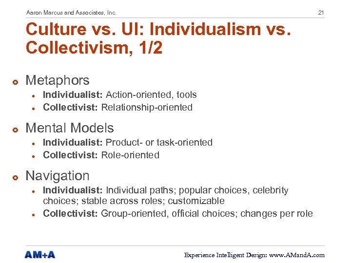 Aaron Marcus and Associates, Inc. 21 Culture vs. UI: Individualism vs. Collectivism, 1/2 £