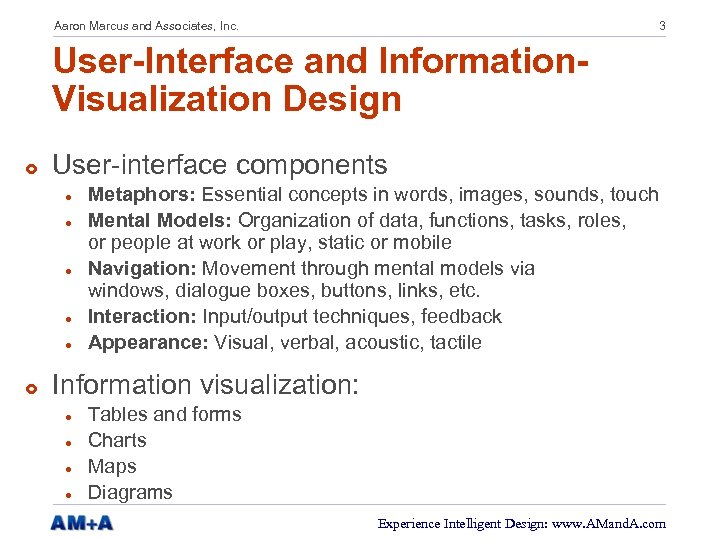 Aaron Marcus and Associates, Inc. 3 User-Interface and Information. Visualization Design £ User-interface components
