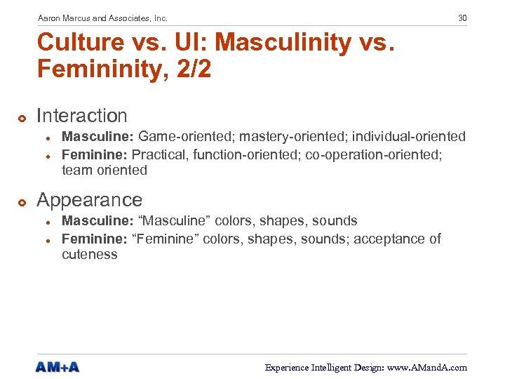 Aaron Marcus and Associates, Inc. 30 Culture vs. UI: Masculinity vs. Femininity, 2/2 £