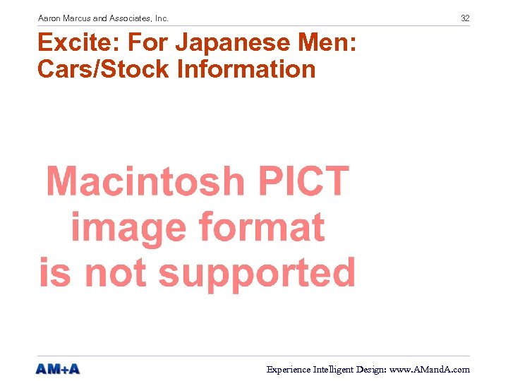 Aaron Marcus and Associates, Inc. 32 Excite: For Japanese Men: Cars/Stock Information Experience Intelligent