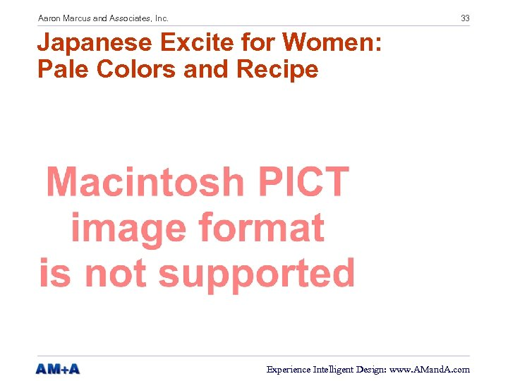 Aaron Marcus and Associates, Inc. 33 Japanese Excite for Women: Pale Colors and Recipe