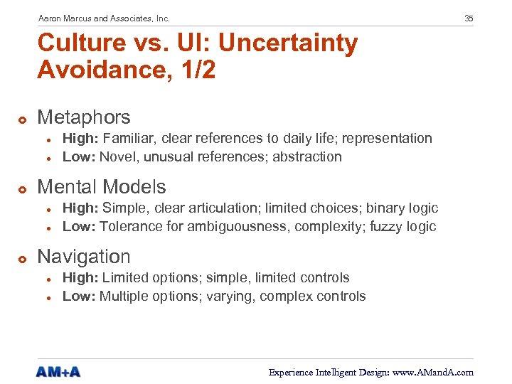 Aaron Marcus and Associates, Inc. 35 Culture vs. UI: Uncertainty Avoidance, 1/2 £ Metaphors