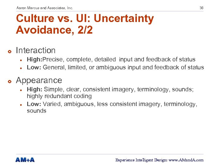 Aaron Marcus and Associates, Inc. 36 Culture vs. UI: Uncertainty Avoidance, 2/2 £ Interaction