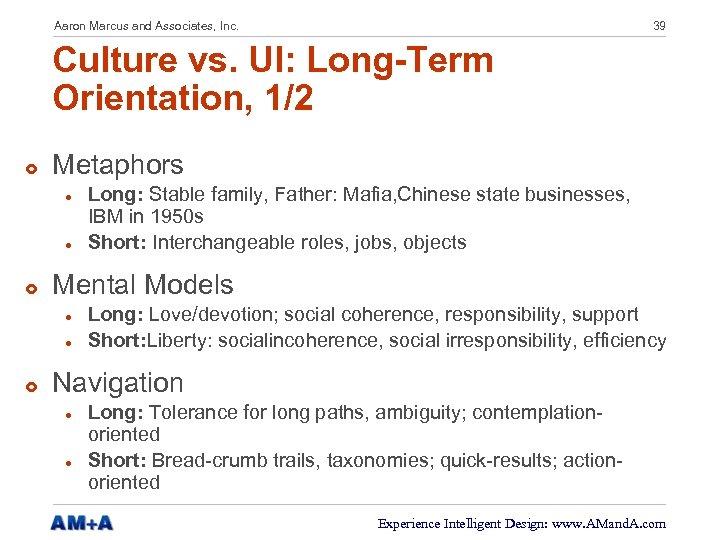 Aaron Marcus and Associates, Inc. 39 Culture vs. UI: Long-Term Orientation, 1/2 £ Metaphors