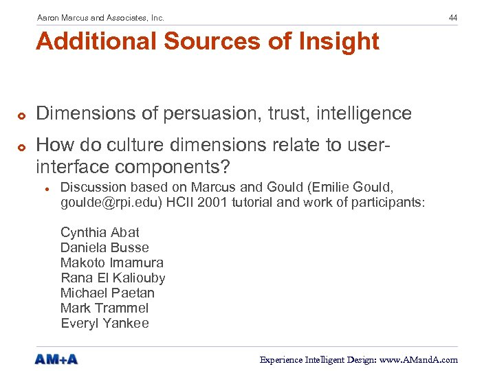 Aaron Marcus and Associates, Inc. 44 Additional Sources of Insight £ £ Dimensions of