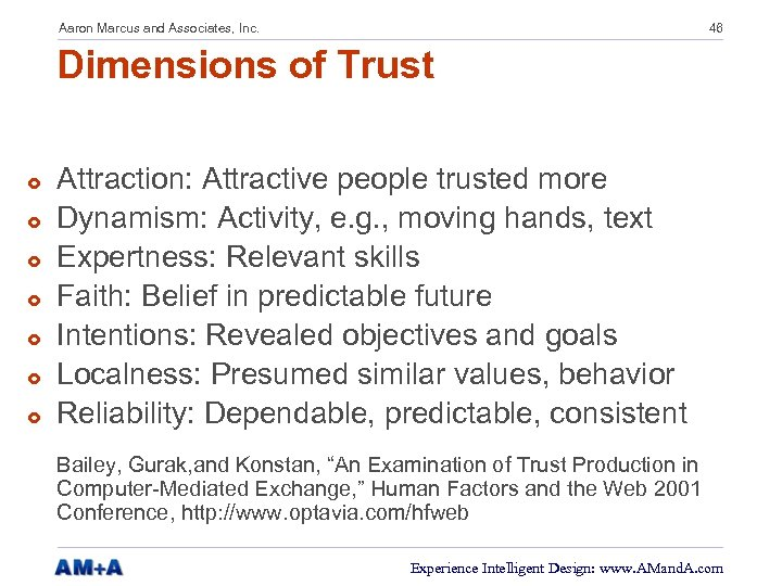 Aaron Marcus and Associates, Inc. 46 Dimensions of Trust £ £ £ £ Attraction: