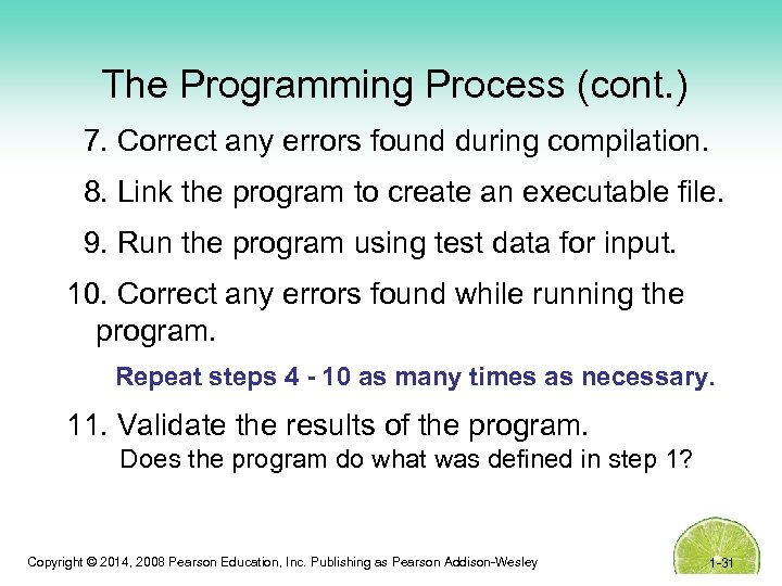 The Programming Process (cont. ) 7. Correct any errors found during compilation. 8. Link