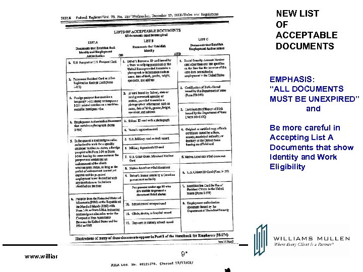 "NEW LIST OF ACCEPTABLE DOCUMENTS EMPHASIS: ""ALL DOCUMENTS MUST BE UNEXPIRED"" and Be more"