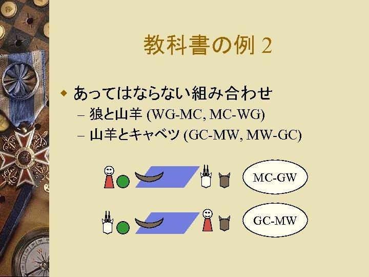 教科書の例 2 w あってはならない組み合わせ – 狼と山羊 (WG-MC, MC-WG) – 山羊とキャベツ (GC-MW, MW-GC) MC-GW GC-MW