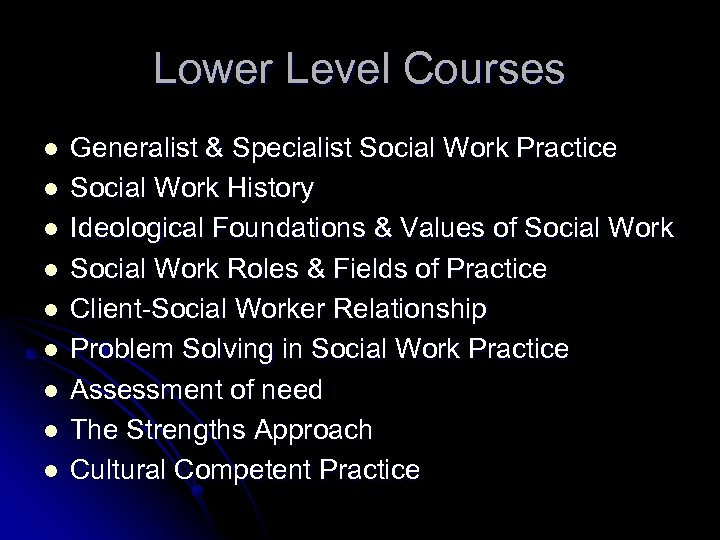 Lower Level Courses l l l l l Generalist & Specialist Social Work Practice