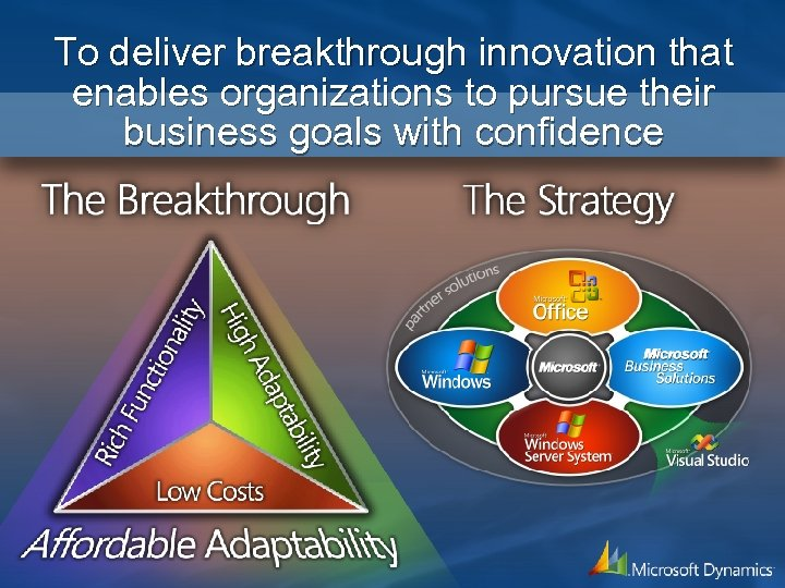 To deliver breakthrough innovation that enables organizations to pursue their business goals with confidence