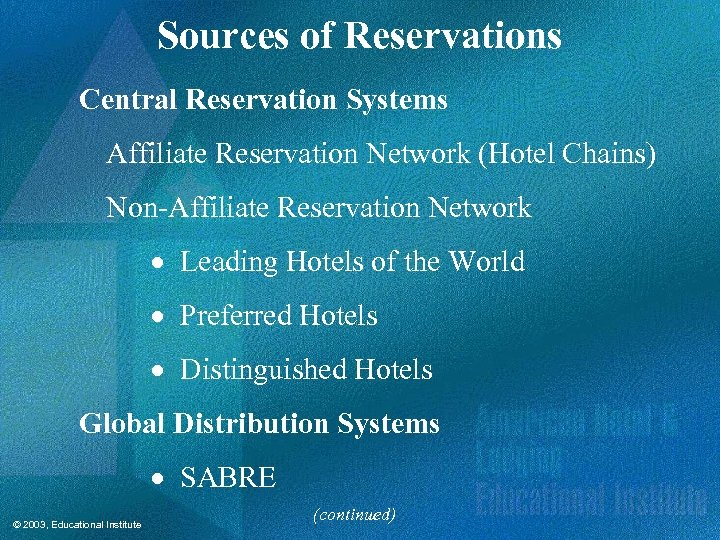 Sources of Reservations Central Reservation Systems Affiliate Reservation Network (Hotel Chains) Non-Affiliate Reservation Network