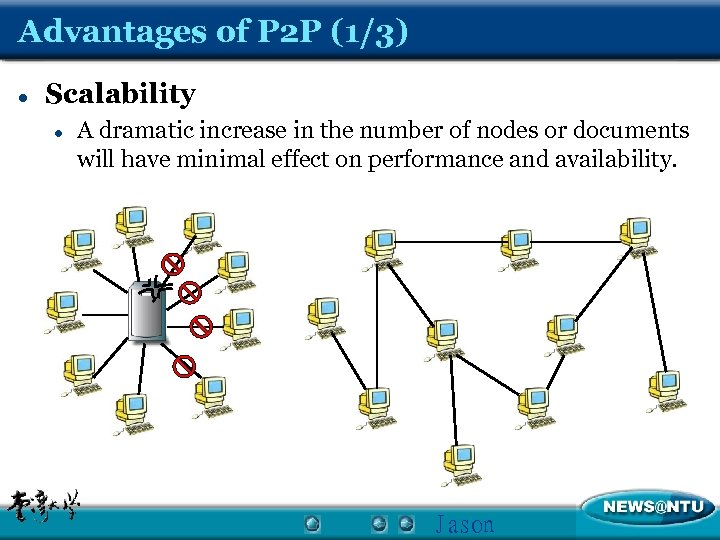Advantages of P 2 P (1/3) l Scalability l A dramatic increase in the