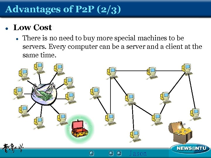Advantages of P 2 P (2/3) l Low Cost l There is no need