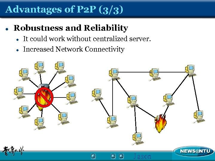 Advantages of P 2 P (3/3) l Robustness and Reliability l l It could
