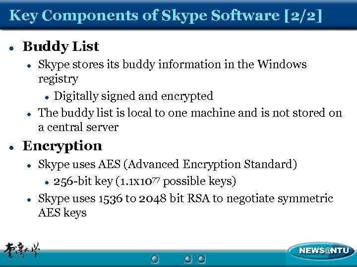 Key Components of Skype Software [2/2] l Buddy List l l l Skype stores