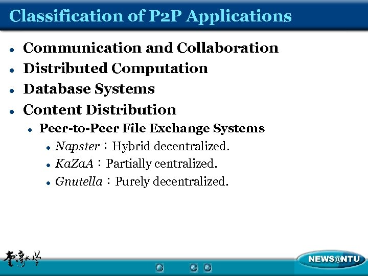 Classification of P 2 P Applications l l Communication and Collaboration Distributed Computation Database