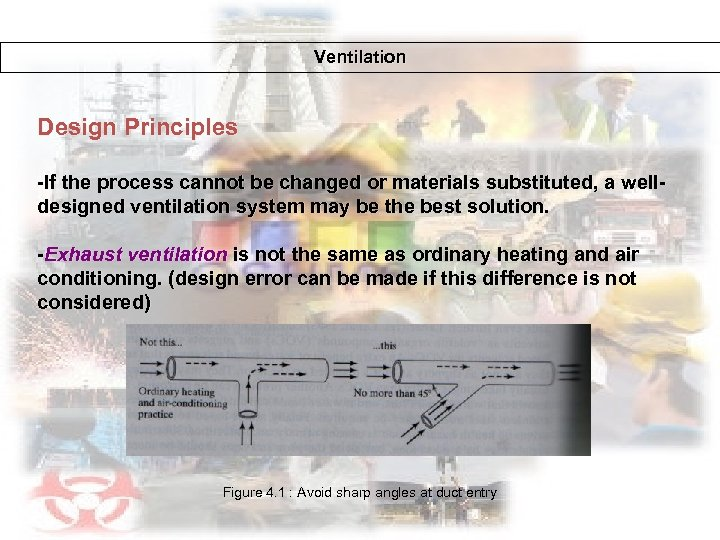 Ventilation Design Principles -If the process cannot be changed or materials substituted, a welldesigned