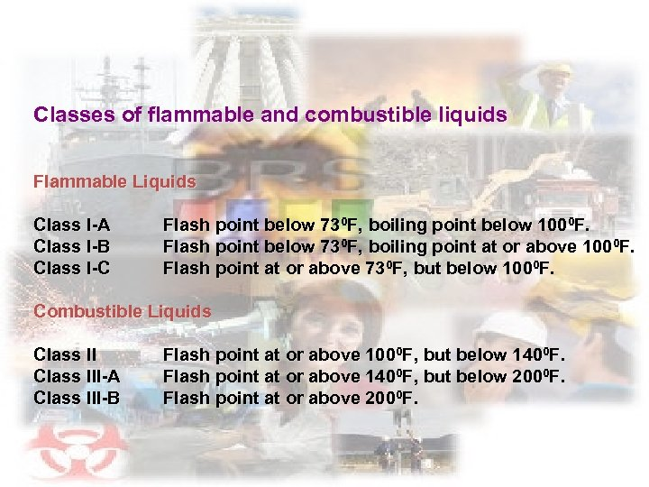 Classes of flammable and combustible liquids Flammable Liquids Class I-A Class I-B Class I-C