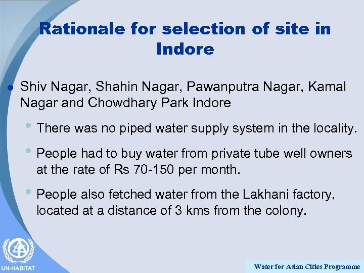 Rationale for selection of site in Indore l Shiv Nagar, Shahin Nagar, Pawanputra Nagar,