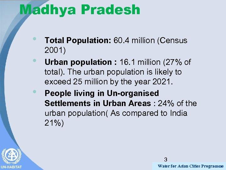 Madhya Pradesh • • • Total Population: 60. 4 million (Census 2001) Urban population