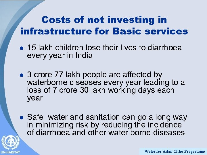 Costs of not investing in infrastructure for Basic services l 15 lakh children lose