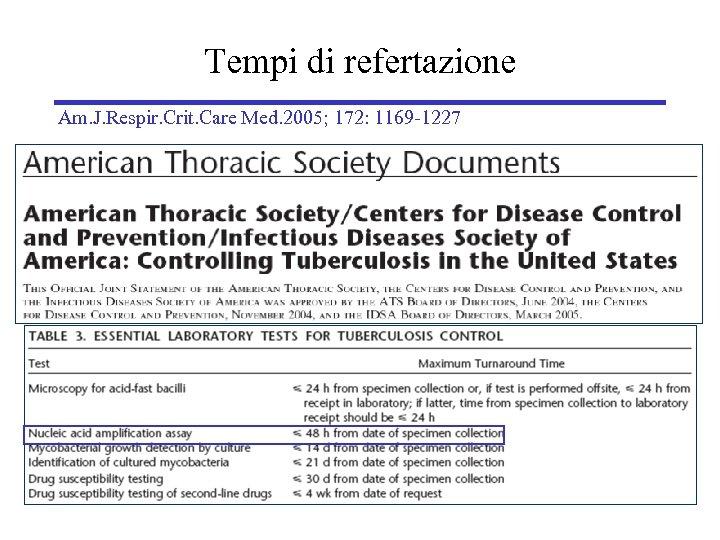 Tempi di refertazione Am. J. Respir. Crit. Care Med. 2005; 172: 1169 -1227