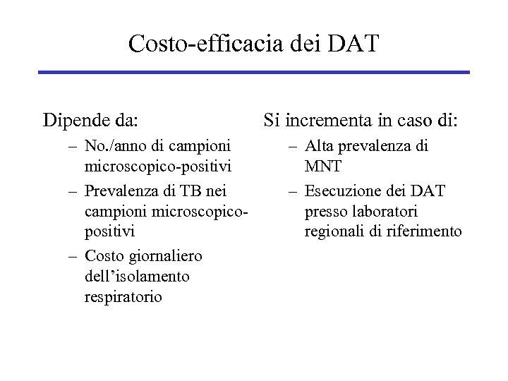 Costo-efficacia dei DAT Dipende da: – No. /anno di campioni microscopico-positivi – Prevalenza di