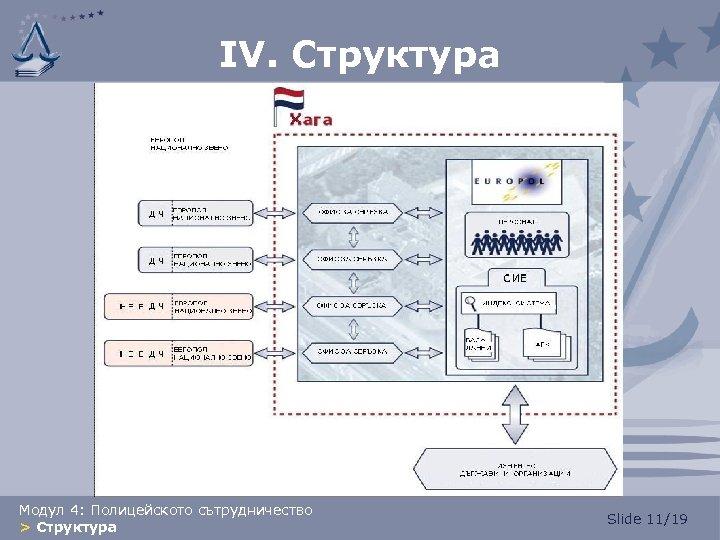 IV. Структура Модул 4: Полицейското сътрудничество > Структура Slide 11/19