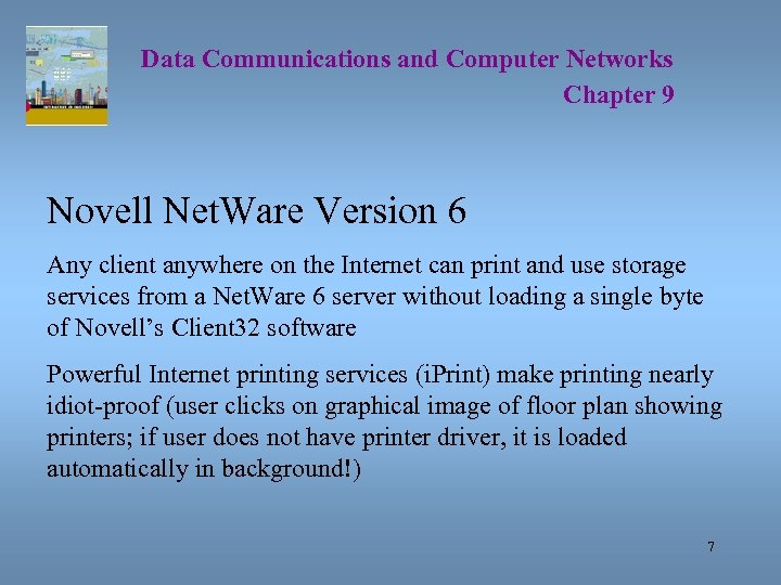 Data Communications and Computer Networks Chapter 9 Novell Net. Ware Version 6 Any client