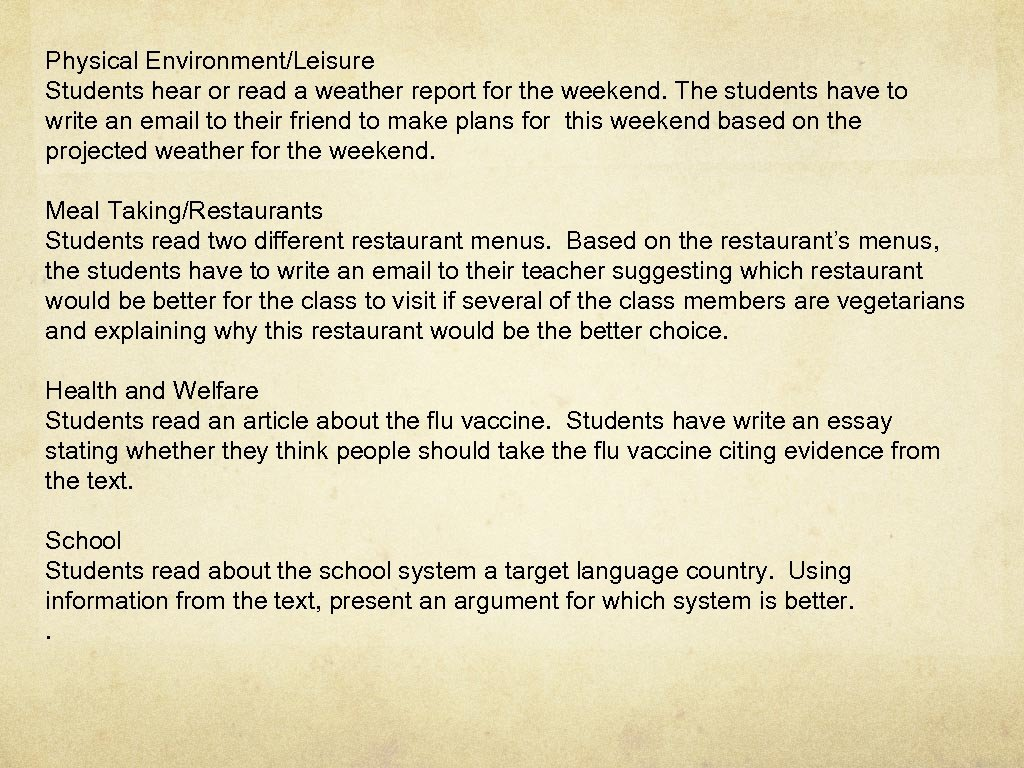 Physical Environment/Leisure Students hear or read a weather report for the weekend. The students